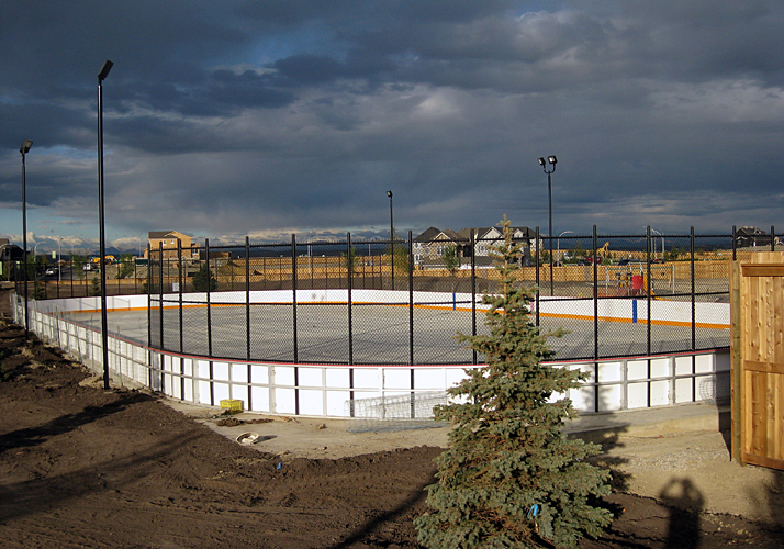 85' x 200' Permanent ice rink with a industrial chiller, rink boards and protective netting