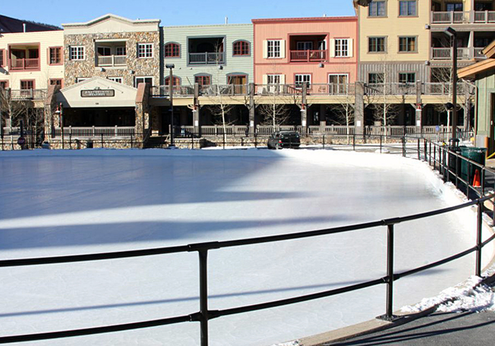 74' x 94' Permanent outdoor ice rink with custom rail system and packaged refrigeration unit