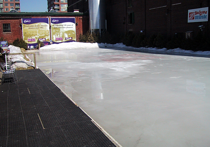 50' x 100' Portable rink, existing packaged chiller on a rooftop in Toronto