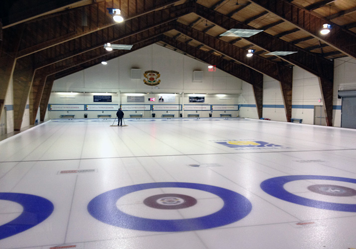 90' x 150' Curling rink with 6 sheets in a concrete floor with refrigeration.