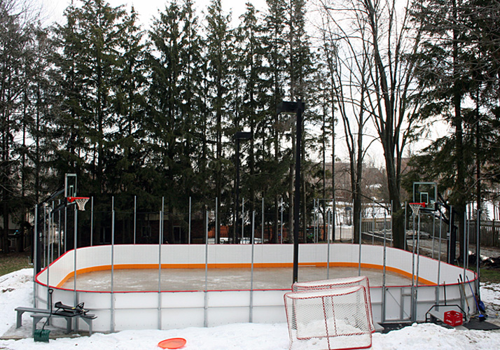 32' x 60' Permanent rink with one (1) RinkMate Kit chiller, rink boards, protective netting