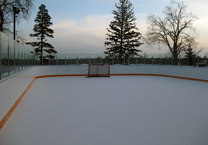 40' x 80' permanent rink with 3 RinkMate chillers, full rink boards with benches and glass