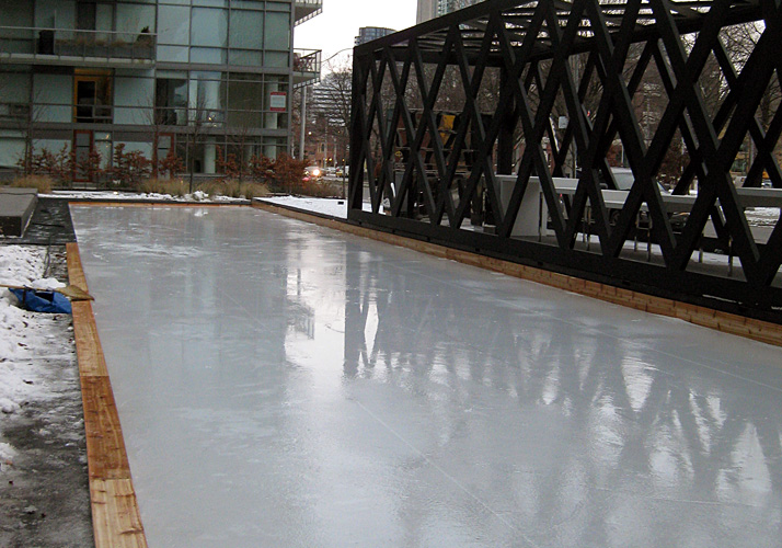 19' x 118' - specialty - A concrete reflecting pool in summer and ice rink in winter