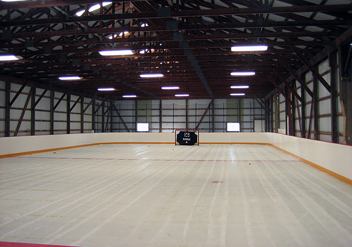 48' x 100' Private Indoor Year Round Training Rink with 3 RinkMate Chillers, Custom Ice Rink Boards, Protective Netting