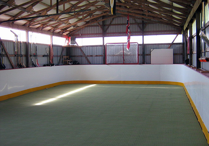 23' x 49' Training Rink with one (1) MiniMate chiller, Build-In-Place wood frame boards and goal nets
