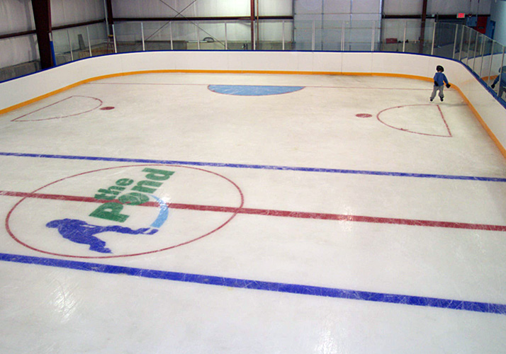 48' x 94' Portable indoor Roll-Out-Rink and RinkMate refrigeration system and Custom Ice boards.
