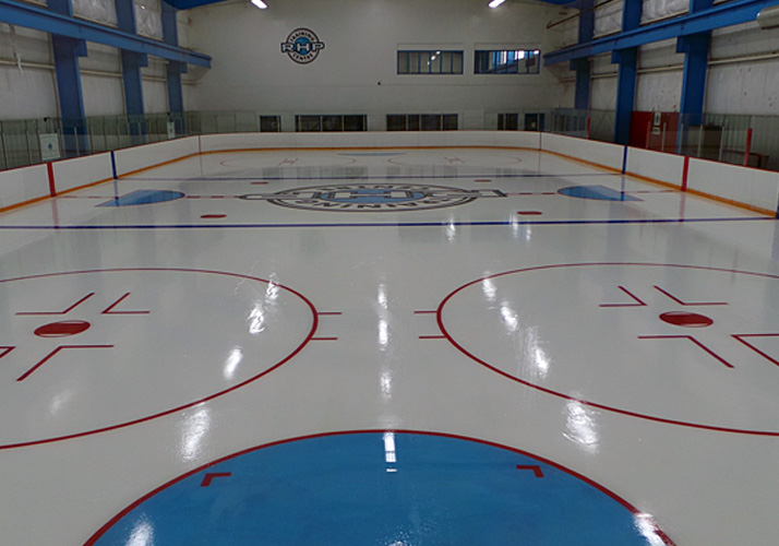 60' x 130' Training rink with Rink Kit Chiller,underfloor heat,  dehumidification, boards, glass and protective netting.