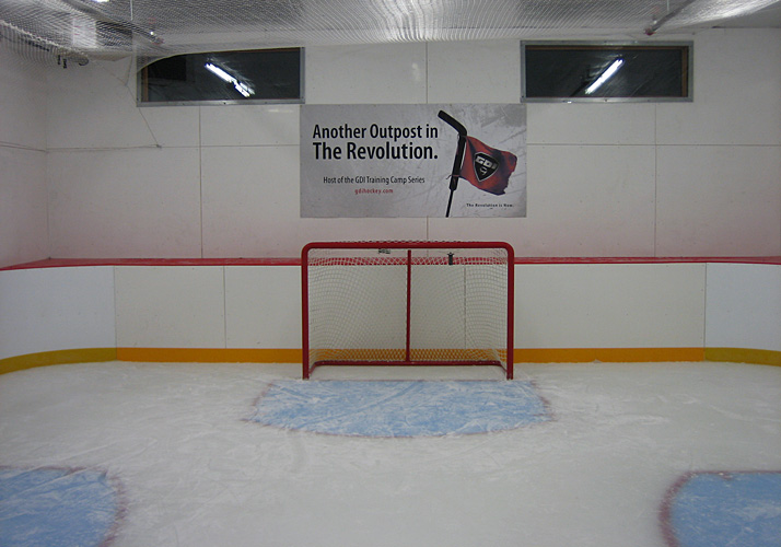 35' x 35' Goalie Shooting Pad working with existing chiller, under floor heat system