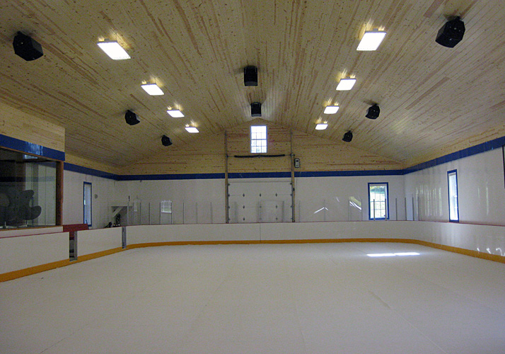 40' x 90' Privately owned seasonal indoor training rink with permanent rink floor and rink boards.