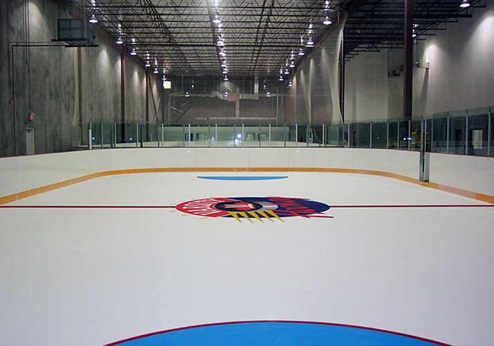 6' x 80' and 50' x 120' Portable indoor training rinks and refrigeration system, Custom Ice boards