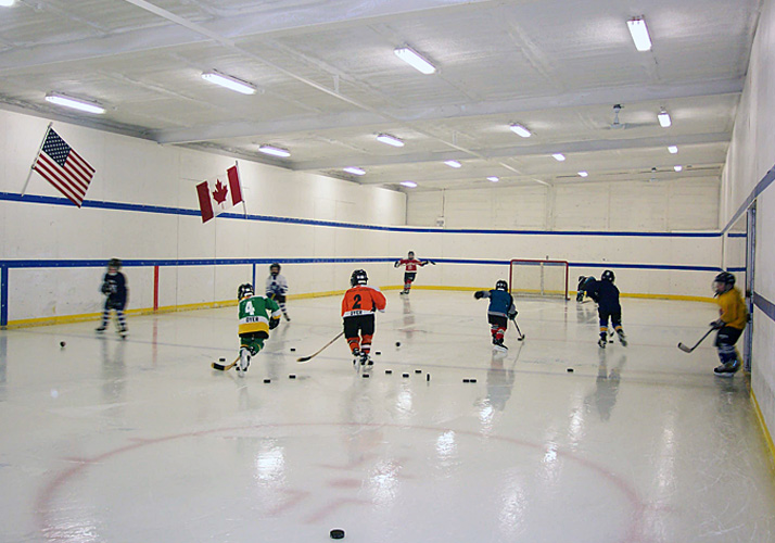 0' x 100' Indoor Permanent rink with RinkMate™ Refrigeration unit.